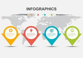 Infographic design template with 4 arrows and shadow vector