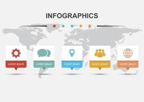 Infographic design template with 5 banners vector
