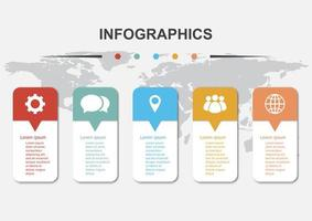 Infographic design template with 5 steps vector