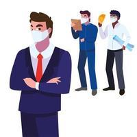 Ingenieros y ejecutivos vistiendo máscaras faciales, diseño de ilustraciones vectoriales