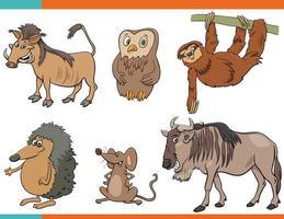 conjunto, de, caricatura, divertido, animales salvajes, caracteres vector