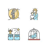 Bible narratives color icons set. Resurrected Lazarus, Virgin Mary with son Jesus, gifts of the magi, pigeon in cage. Easter week. vector