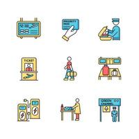 Airport terminal RGB color icons set. Flight information panel. Priority pass. Security check luggage. Ticket for airplane. Passenger boarding process. Isolated vector illustrations