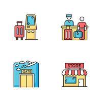 aeropuerto terminal rgb conjunto de iconos de colores. kiosco de autoservicio para el check in. mostrador de registro de embarque. ventana de la puerta. salida del avión. tienda libre de impuestos. equipaje facturado. ilustraciones vectoriales aisladas