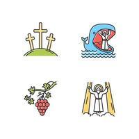 Conjunto de iconos de colores de narrativas bíblicas. calvario, jonas y ballena, vid, ascensión de jesucristo. historias cristianas. vector