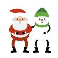 feliz navidad santa claus con muñeco de nieve vector