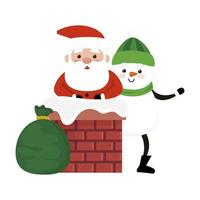 merry christmas santa claus with snowman in chimney vector