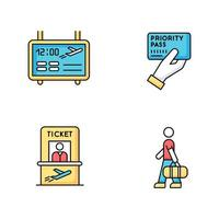 Airport terminal RGB color icons set. Flight information on electronic scoreboard. Male passenger with luggage. Timetable for departure. Ticket for plane. Priority pass. Isolated vector illustrations