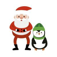 merry christmas santa claus with penguin vector