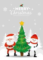 merry christmas poster with santa claus and snowman in winter landscape vector