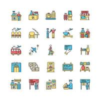 Airport terminal RGB color icons set. Boarding pass. Flight information. Smoking area. Lounge for passenger waiting. Transportation transit. Airline services. Isolated vector illustrations