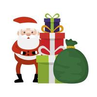 santa claus with bag and gift boxes presents vector