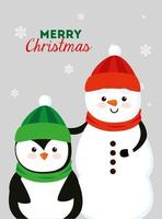 merry christmas poster with snowman and penguin vector