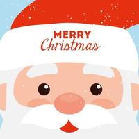 merry christmas poster with face of santa claus vector