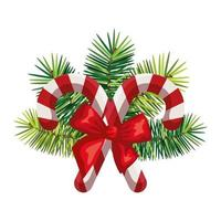 sweet canes christmas with decoration isolated icon vector