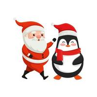 santa claus with penguin characters merry christmas vector