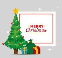 merry christmas card with pine tree and gift boxes vector