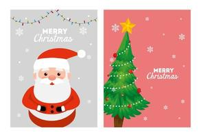 set merry christmas poster with santa claus and pine tree vector