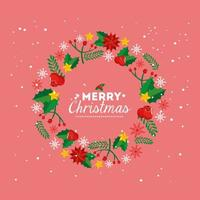 merry christmas poster with crown of decoration vector