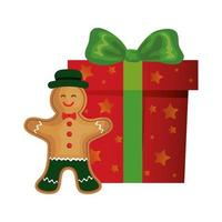 gift box christmas with ginger cookie