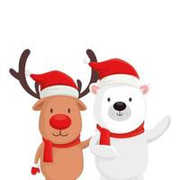 cute bear with reindeer characters merry christmas vector