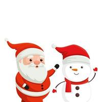 santa claus with snowman characters merry christmas vector