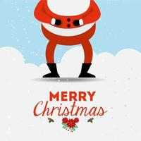 merry christmas poster with santa claus legs vector