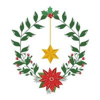 crown decorative christmas with flower and star hanging vector