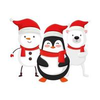 cute penguin and characters of merry christmas vector