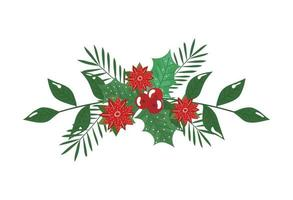 flowers christmas decorative with branches and leafs vector