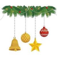 ball with set decorations christmas hanging vector