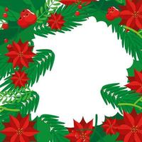 frame of christmas of flowers and leafs vector