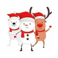 cute snowman and characters of merry christmas vector