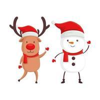 reno con personajes de muñeco de nieve feliz navidad vector
