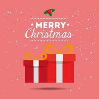 merry christmas poster with gift boxes vector