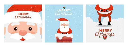 set poster of merry christmas and decoration vector