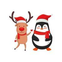 reno con personajes de pingüino feliz navidad vector