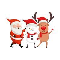 reno con personajes de feliz navidad vector