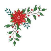flower christmas decorative with branches and leafs vector