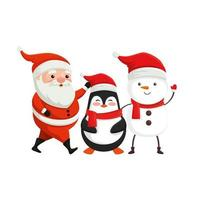 santa claus with characters of merry christmas vector