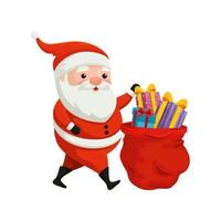 santa claus and bag with gifts of merry christmas vector