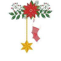sock and star of christmas hanging with flower isolated icon vector