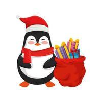 pingüino y bolsa con regalos de feliz navidad vector