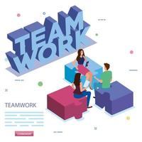 work team in meeting with puzzle pieces vector