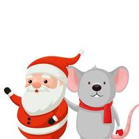 santa claus with mouse characters merry christmas vector