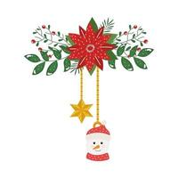 snowman and star hanging with flower christmas decorative vector