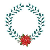 crown decorative christmas with flower and leafs vector