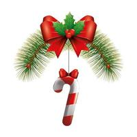 cane christmas with bow ribbon hanging vector