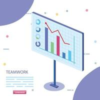 teamwork scene with statistics graphics
