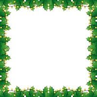frame of leafs decoratives with lights christmas vector